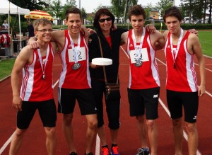FLorian, Daniel, Trainerin Ilse Dörfler, Samuel und Jonas (v.l.)